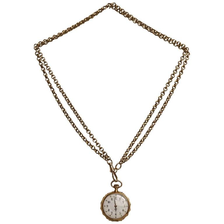 Victorian swiss 18 karat gold pocket watch pendant with chain victorian swiss 18 karat gold pocket watch pendant with chain necklace for sale aloadofball Choice Image