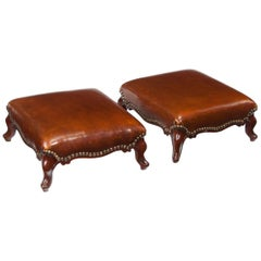 Good Pair of Leather Upholstered Victorian Mahogany Footstools