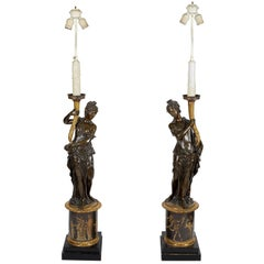 Large Pair of French Gilt and Patinated Bronze Figural Candelabra Lamps