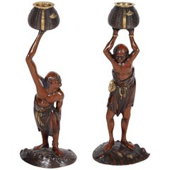 Exquisite Pair Japanese Meiji Mixed Metal Bronze Oni Figures of Ashinaga Tenagu