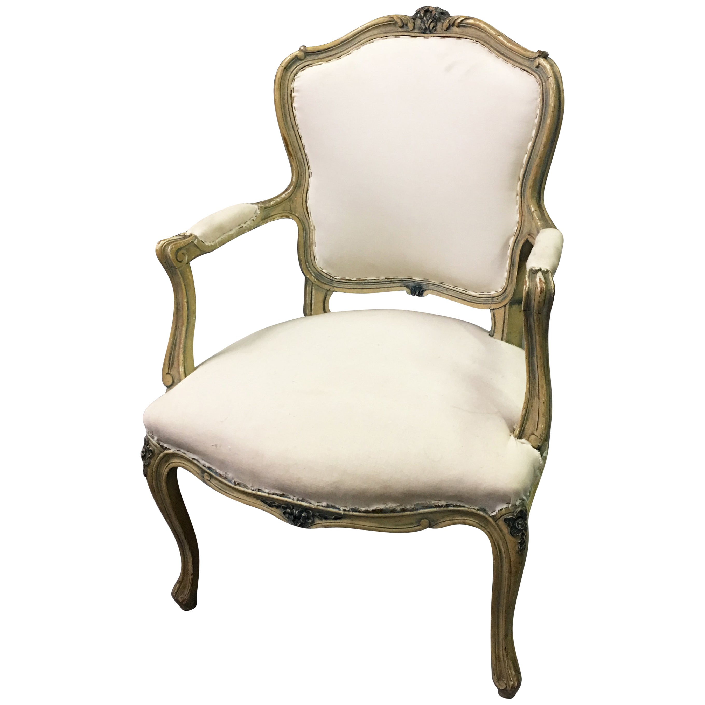 Louis XVI Style Carved Mahogany Armchair