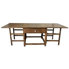 Spanish, 18th Century Drop-Leaf Table with Four Gate-Leg and Three Drawers