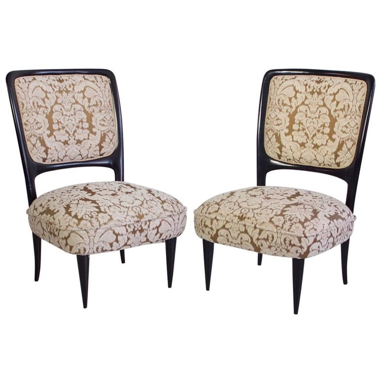Pair of Handmade Italian Mahogany Chairs with Low Seat
