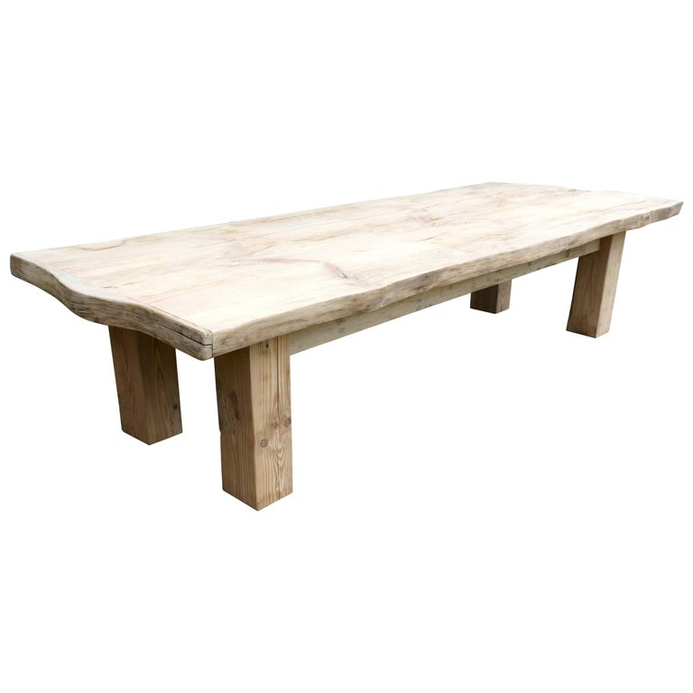Rustic Solid Bleached Pine Coffee Table Woodland Art Furniture