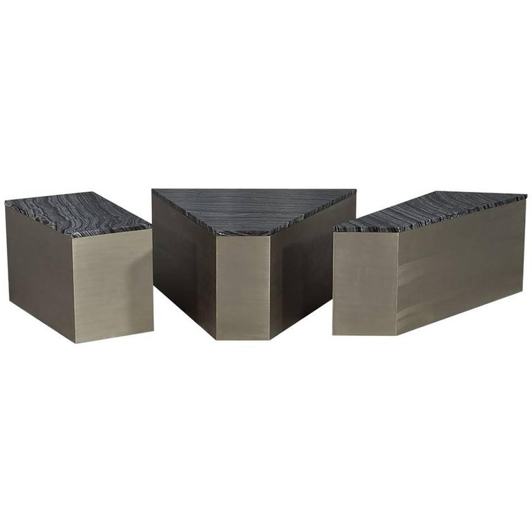 Carrocel Custom Three Piece Marble And Brushed Abstract Cocktail Table Set For Sale At 1stdibs