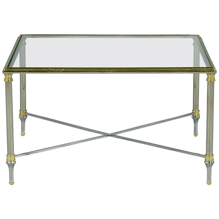 Chrome and Glass Cocktail Table in the Style of Maison Jansen