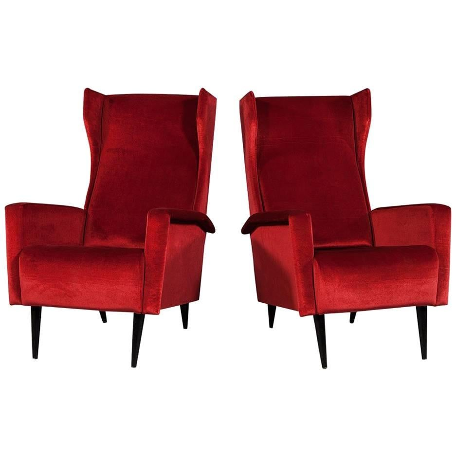 pair of vintage italian red velvet wing chairs chippendale style carved pale mahogany antique