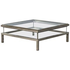 Vintage Italian Sliding Top Stainless Steel Cocktail Table