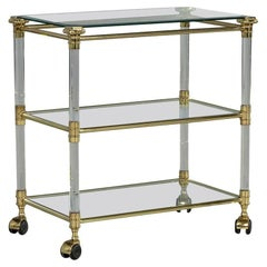 Vintage French Brass-Glass and Lucite Serving Cart