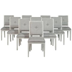 Set of 14 Carrocel Custom Flat Back Deco Side Chairs in Grey Ultra Suede