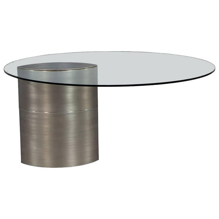 Round Glass and Chrome Abstract Dining Table For Sale