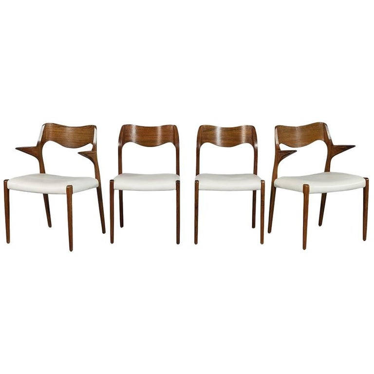 Set of Four in the Manner of Niels O. Moller #71 Rosewood Dining Chairs 1