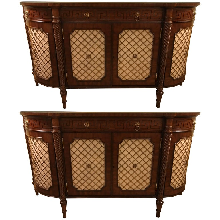 Pair Of Demilune Maitland Smith Georgian Style Serving Cabinets Or Commodes For Sale At 1stdibs