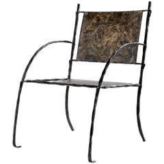 Hand-Forged, Sculptural, Modern Wrought Iron Armchair, Side or Accent Chair