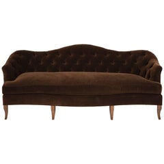 NK Collection Tufted Sofa Upholstered in Brown Velvet