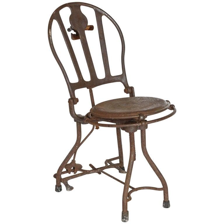 Antique, 1920s Industrial Metal Medical Dental Iron Chair For Sale - Antique, 1920s Industrial Metal Medical Dental Iron Chair For Sale