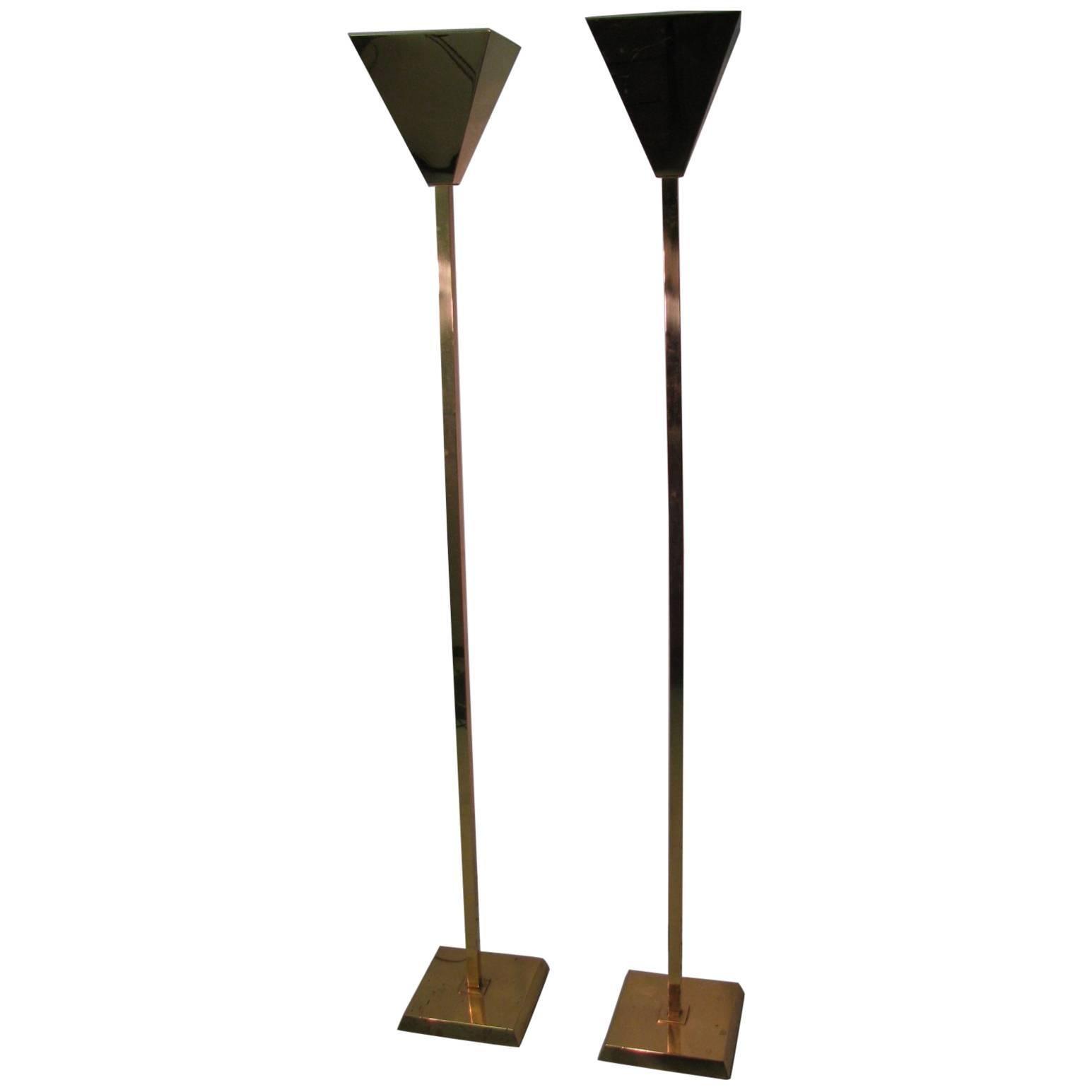 Pair of Mid-Century Modern Brass Three-Way Touch Torchieres Floor ...