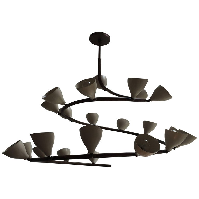 Brass Conical Spiral Chandelier in the style of Arteluce