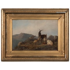 Antique 19th Century Oil Painting of Mountain Goats by Wilhelm Zillen