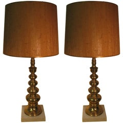 Pair of Mid-Century Modern Tapered Brass Table Lamps