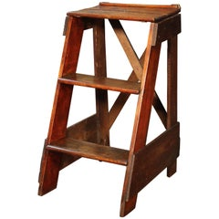Wooden Step Ladder Vintage Antique Moveable Wood Factory Shop Ladder Stairs
