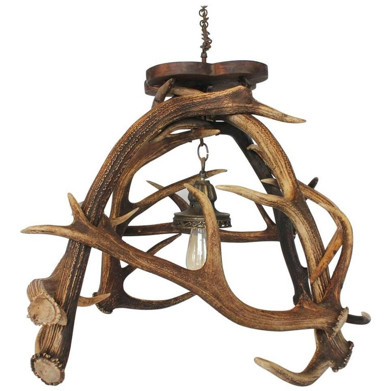 Early 20th C American Rustic Log Chandelier For Sale At