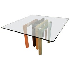 Dining Table Base with Glass Top by Saporiti