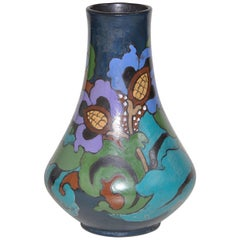 Hand-Painted Dutch Style Art Nouveau Vase Pot in Blue and Turquoise