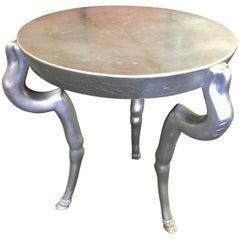 Three-Legged Silver Leaf Hollywood Regency Style Table by Donghia
