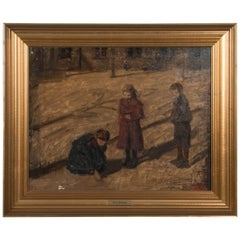 Impressionist Antique Oil on Canvas Painting by Jens Birkholm