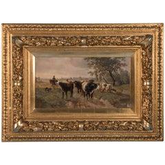 Antique Oil on Board Landscape Painting of Cattle by Edward Gotzelmann