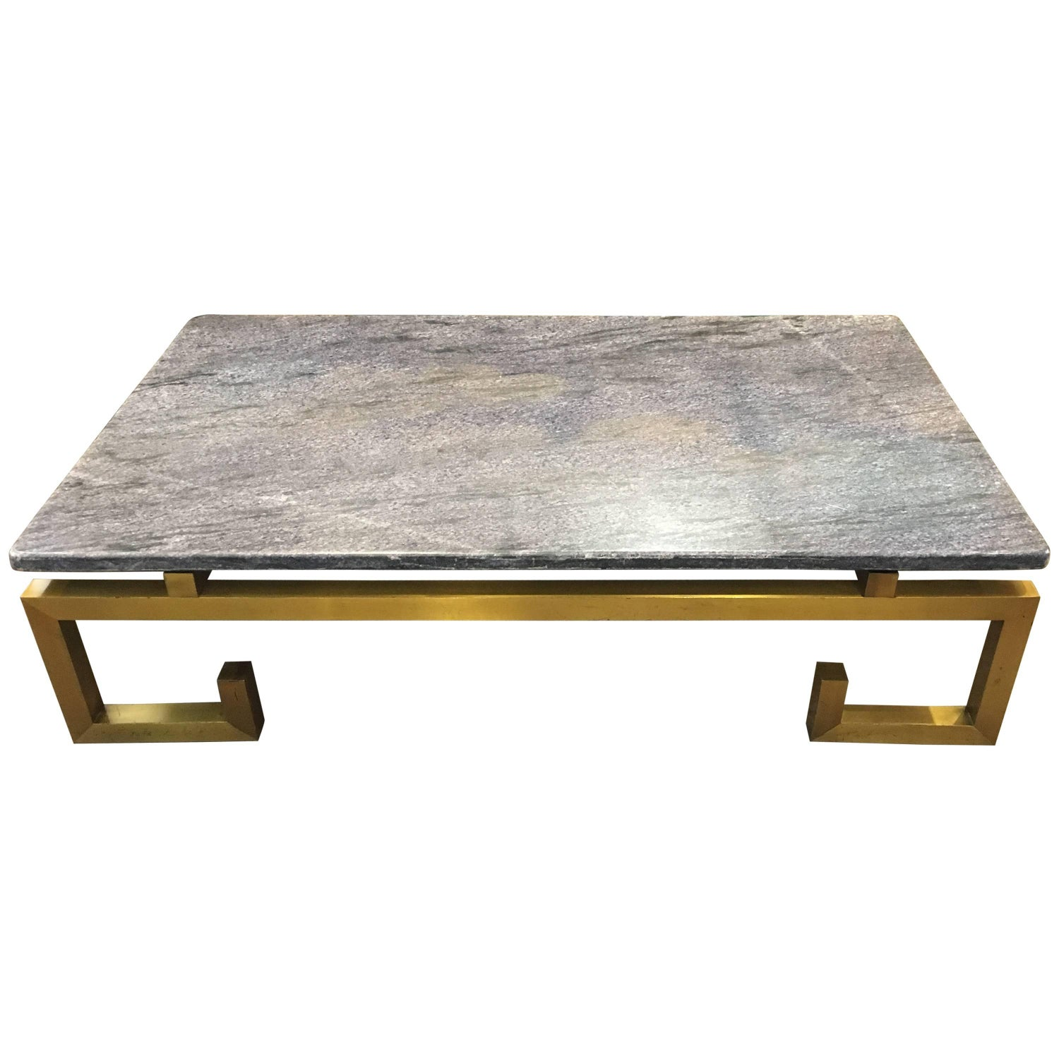 1970s Brass and Blue Marble Coffee Table For Sale at 1stdibs