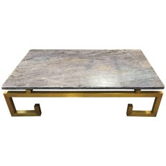 1970s Brass and Blue Marble Coffee Table
