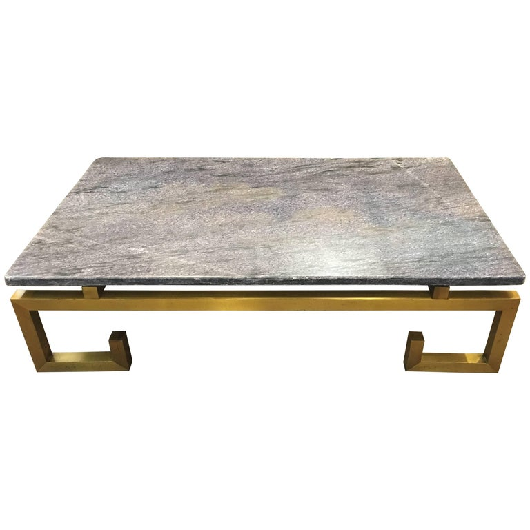 1970s Brass and Blue Marble Coffee Table For Sale