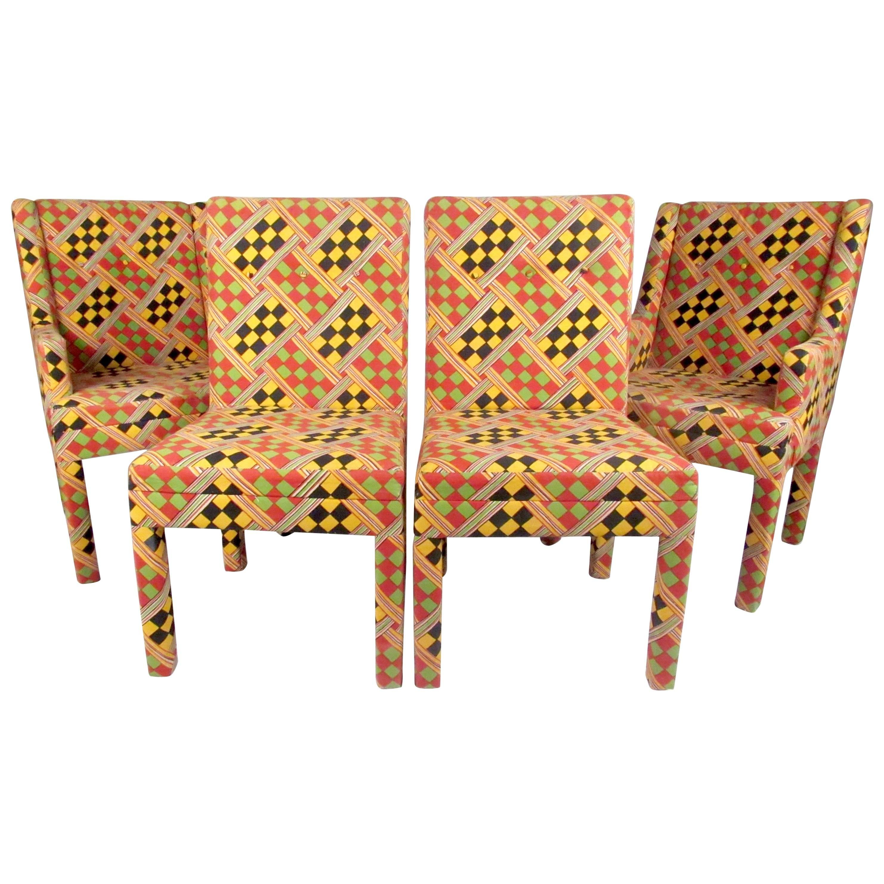 set of stylish parsons style upholstered dining chairs
