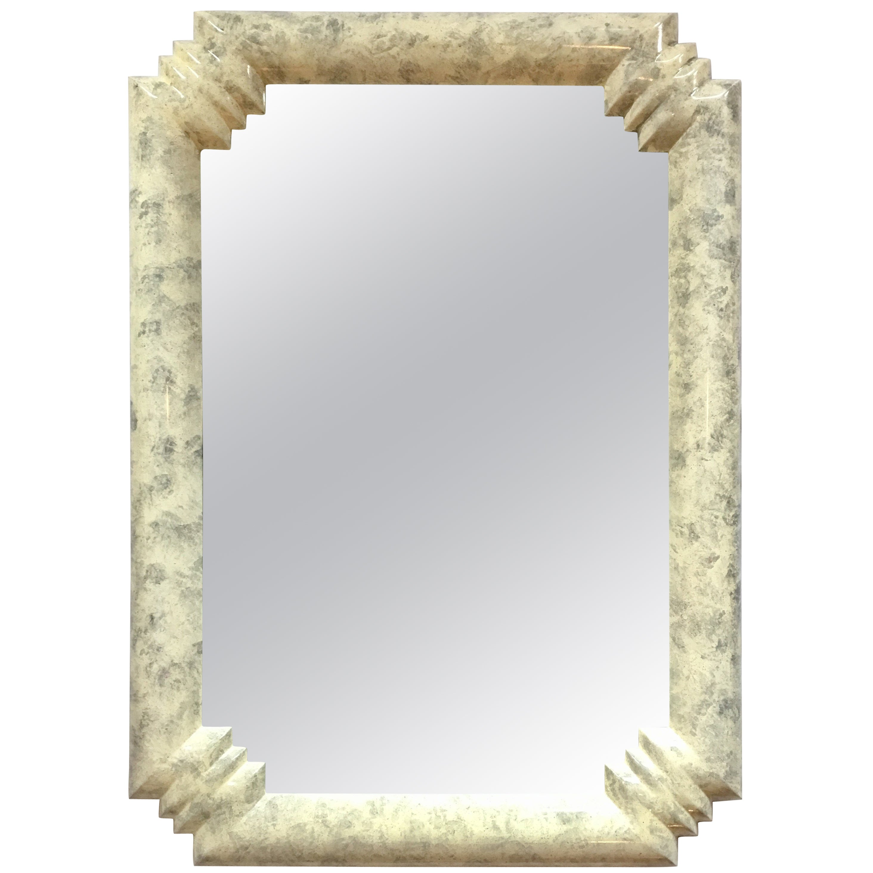 Art Deco Style Lacquered Bullnose Wall Mirror