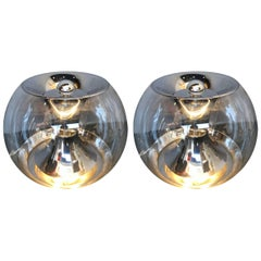 Pair of Ball Lamps by Luci, Italy, 1970s