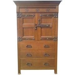 Arts and Crafts Oak Linen Press by Liberty and Co.