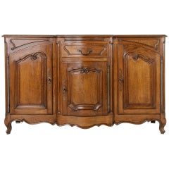 Early 20th Century Louis XV Style French Hand-Carved Oak Enfilade or Sideboard