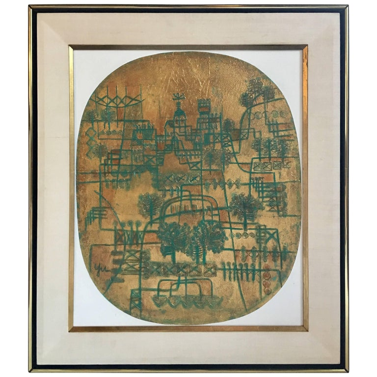 Abstract Cityscape Chinese Modernist Painting by Heshi Yu, Signed
