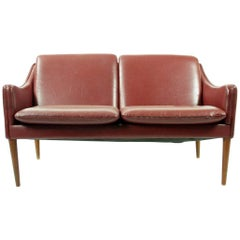 Hans Olsen Leather Settee Model 800 for C/S Møbler Denmark, 1958