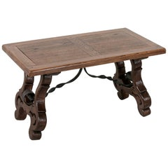 Early 20th Century Spanish Style Oak Coffee Table or Bench with Iron Stretcher