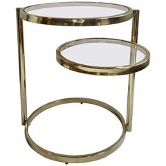 1970s Milo Baughman Style Articulating Brass Side Table with Swiveling Tier