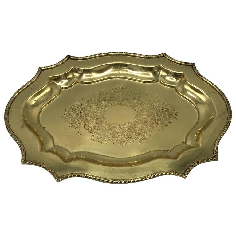 1960s Italian Brass Decorative Dish Tray