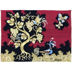Belgian Handwoven Red Wool Tapestry by Claude Bleynie