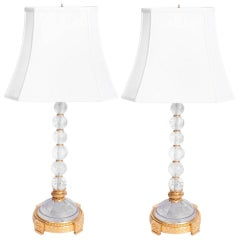 1950s Pair of Rock Crystal and Bronze Table Lamps