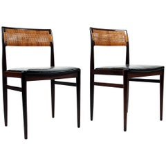 Architect Erik Wørts Rosewood, Leather and Rattan Model W26 Side Chairs