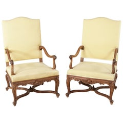 Pair of Late 19th Century Large-Scale French Regency Style Hand-Carved Armchairs