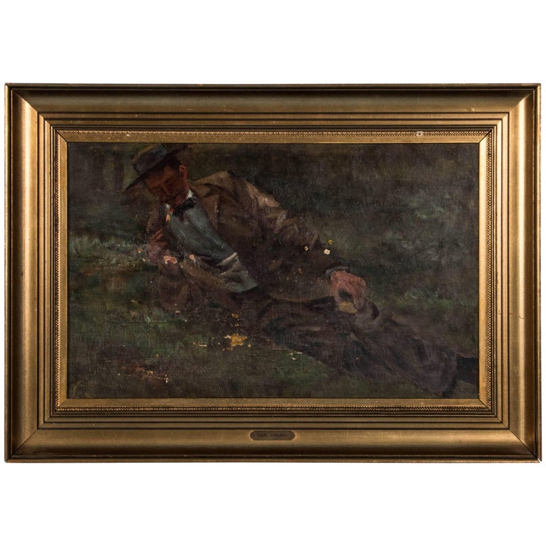 Antique 19th Century, Oil on Canvas Painting by Carl Carlsen For Sale