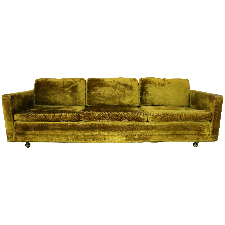 Green Velvet Lawson Style Three Cushion Sofa Vintage, Mid Century Modern